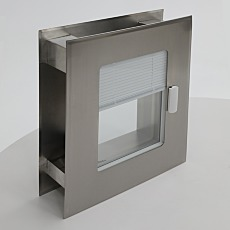 Flush mount cleanroom window with built in adjustable blinds
