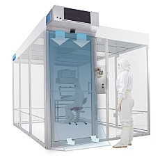 Illustration of high-velocity air curtain stream installed in cleanroom entryway