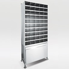 Stainless Steel Bootie Rack: 50 Storage Slots with Lower Storage Drawer