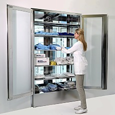double door pass through cabinet with adjustable shelving 304 stainless steel