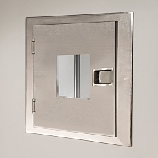 Fire-Rated Pass-Through Chamber; stainless steel, with window and concealed door interlock