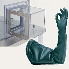 Glovebox airlock and gloves-sleeve combo