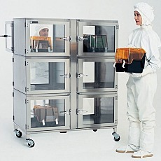 Stainless steel nitrogen desiccator cabinet, 6 chambers with automatic humidity control
