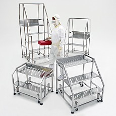 BioSafe Stainless Steel Cleanroom Step Stairs with Work Platform and Model