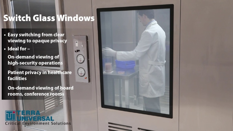 Video demonstrates the switch from opaque glass to clear for privacy or viewing purposes