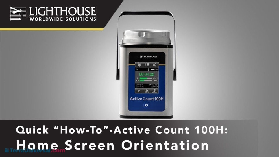 Lighthouse ActiveCount Viable Air Sampler Home Screen Orientation by LWS