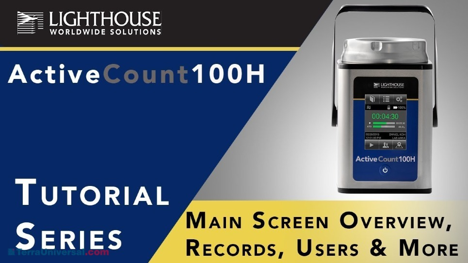 Main Screen Overview, Records, User & Location with Lighthouse ActiveCount 100H Viable Microbial Air Sampler by LWS
