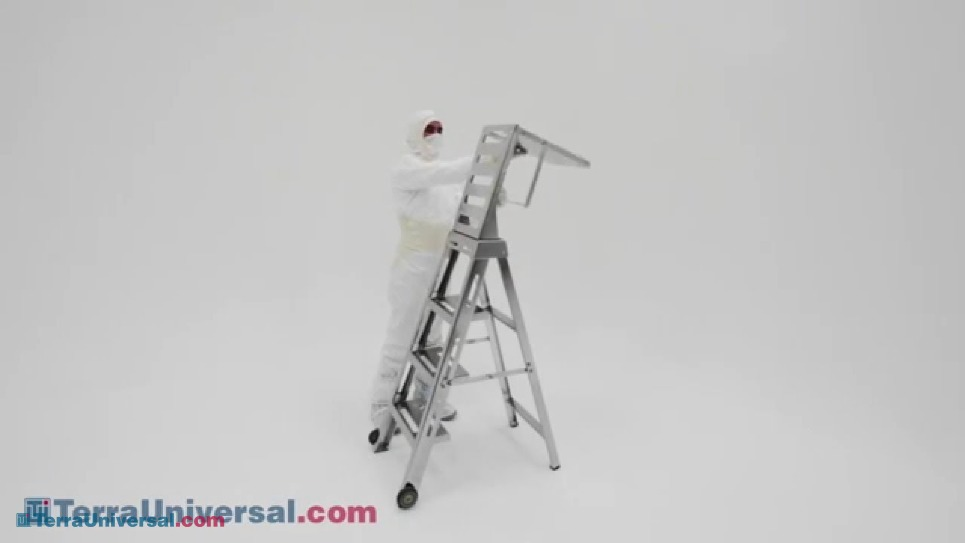 video demonstration of folding extension on Terra's cleanroom step ladder
