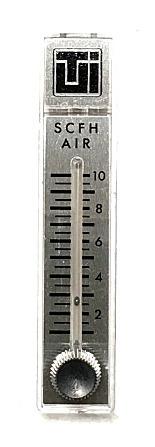 Flowmeter, air, 1-10 SCFH, 2'' scale, 4-13/16''L, SS valve, w/TUI logo