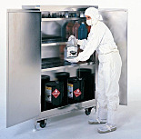 Chemical Storage; Floor Cabinet, Safety Can, Self-Closing Double Door, 304 Stainless Steel, 43.5