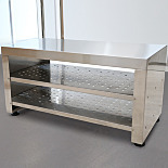 Free-Standing Cleanroom Gowning Benches with Integrated Bootie Rack
