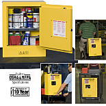Justrite 890200 Sure-Grip Ex Mini Flammable Safety Cabinet; Manual Single Door, Double-Walled Steel, 17