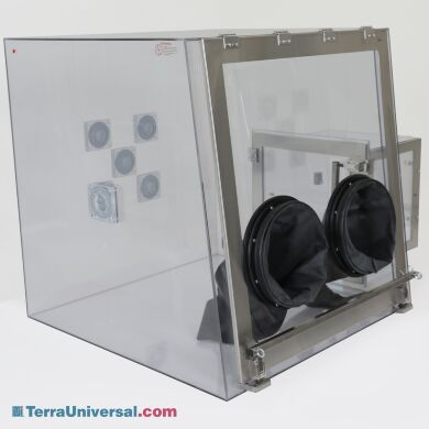 """Custom polycarbonate glovebox with front tilt-up window and electrical wire feedthroughs, 35""""W x 35"""
