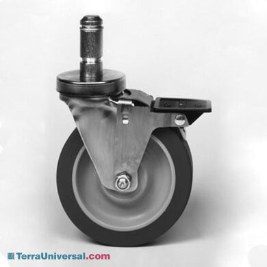 Super Erecta stem casters by Intermetro features stainless steel washable casters with foot brake | 2650-97 displayed