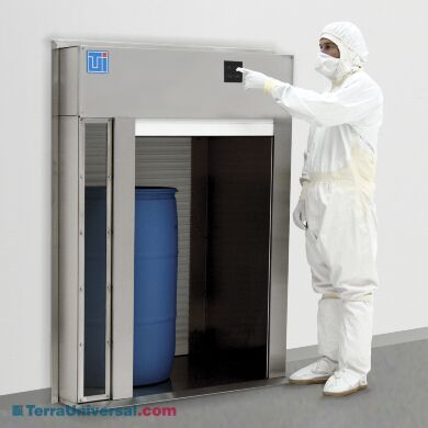 Floor-mounted stainless steel pass-through chamber with aluminum roll-up doors | 6705-12C-AS displayed