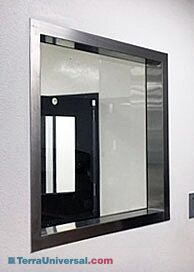 Reverse side of single sided cleanroom window with seamless stainless steel frame and ledge | 6602-73A displayed