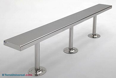 Stainless steel solid-top gowning bench with posts for floor mounting   1530-18-2 displayed