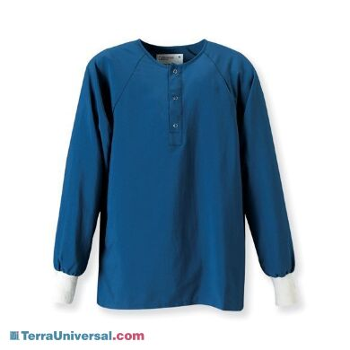Pocketless sitewear shirts are typically worn underneath cleanroom garments as an alternative to normal clothing | 4954-90A displayed