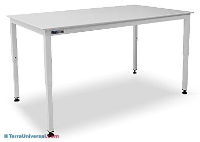 Polypropylene top resists a broad range of chemicals, including most acids. Powder-coated steel base includes telescoping legs   1522-00 displayed