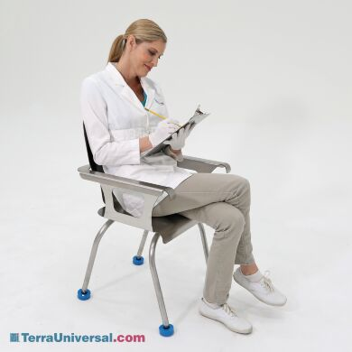 304 stainless steel cleanroom chair with arm rests and non-skid polyurethane leveling feel | 2806-90 displayed