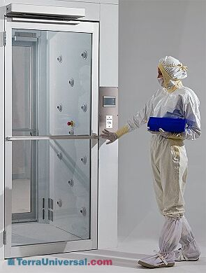 Automatic swing door with motion sensor allows hands-free door operation (shown installed on Air Shower)   1999-88-L displayed