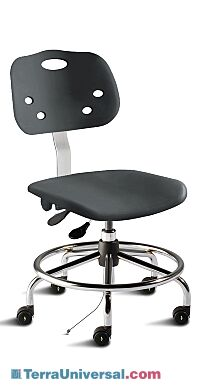 Biofit black ArmorSeat desk chair includes polypropylene seat and backrest, tubular steel base, footring, and dual-wheel casters for ESD applications