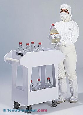 Polypropylene chemical transport cart with 12 compartments to transfer 1-gallon jugs and bottles filled with acids and other corrosives | 3401-00 displayed