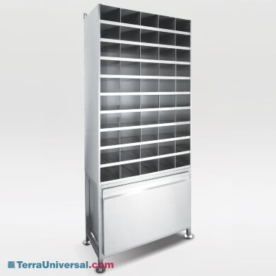"""Stainless Steel Bootie Rack includes 50 slots (5.5""""W x 12""""D x 4.5""""H) and drawer for bulk storage 