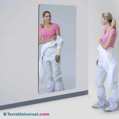 Framelesss wall-mounted rectangular cleanroom mirror with round corners | 5253-00 displayed