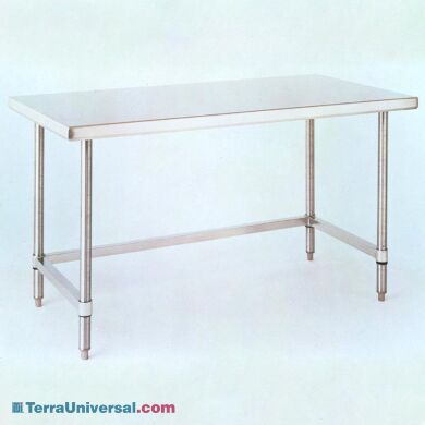 Solid-top 304 stainless steel cleanroon table from Metro with 3-sided