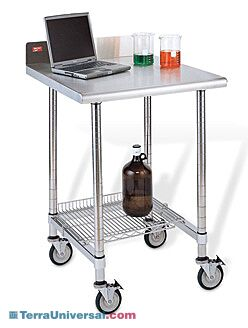 InterMetro laboratory work table with stainless steel surface and backsplash and three-sided frame, shown with caster and optional wire shelf | 1533-70 displayed