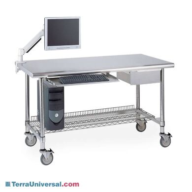 Stainless steel lab table shown with optional shelf, drawer, keyboard tray, monitor arm and locking casters | 1533-84 displayed