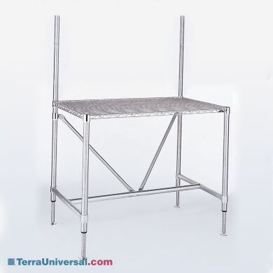 InterMetro's electropolished stainless steel perf-top cleanroom table with supports to hold optional grid panel | 2650-80 displayed