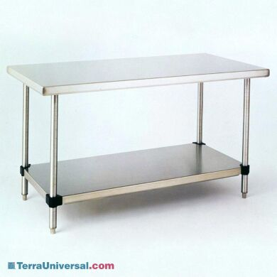 Solid-top 304 stainless steel cleanroom table with tool-free adjustable height shelf, from Metro | 1305-00 displayed