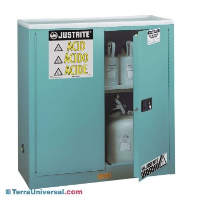 Corrosive Storage by Justrite features two manual stainless steel doors with 3-point stainless steel bullet latching system   2820-09A displayed