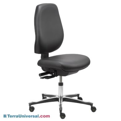 Tall-backed ESD cleanroom desk chair on rollers with adjustable height   1012-14 displayed