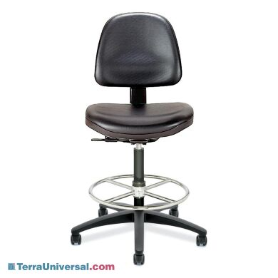 Class 100 Ergonomic Static-Control Chairs include conductive casters for static-safe rolling on surfaces