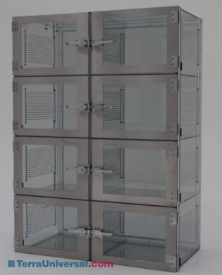 Adjust-A-Shelf ESD-safe desiccator cabinet, static-dissipative PVC, 8 chambers with adjustable shelving | 3950-03D displayed