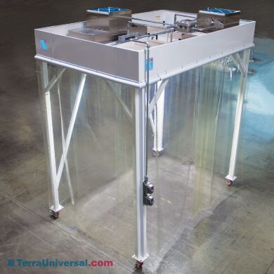 Explosion-proof softwall cleanroom with angled support bars and optional casters | 6600-62 displayed