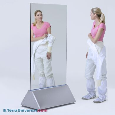 Dual-Sided Mirror allows visual inspection from both sides – ideal for gowning rooms with limited wall space