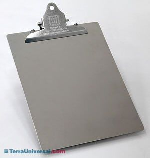 Stainless steel BioSafe Cleanroom Clipboards provide non-shedding, durable, conductive surfaces, ideal for aseptic environments   1350-00A-2 displayed