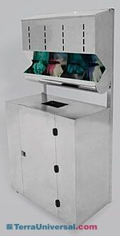BioSafe® Glove Dispenser with Waste Bin provides an easy-clean dispensing/disposal station in the cleanroom, gowning room, or lab   4951-39A-2 displayed
