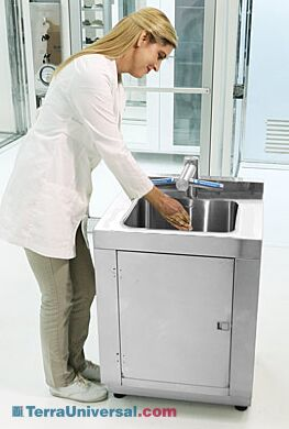 Stainless steel hands-free sink and dryer station minimizes sources of microbial growth   9600-60C displayed