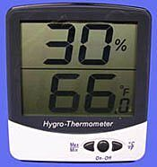 Terra's hygro-thermometer offers simultaneous display of temperature and humidity in a large LCD readout   5401-21 displayed