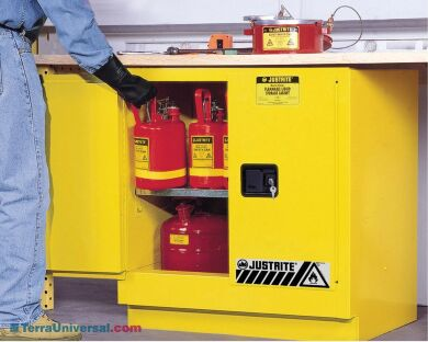 Undercounter Flammable safety cabinets by Justrite includes dual vents with flame arresters located in the back | 1619-95 displayed