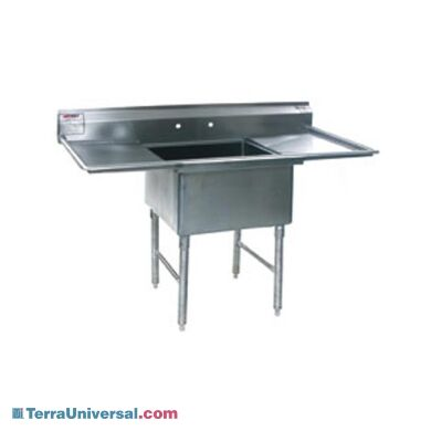 """Single-Compartment Free-Standing Laboratory Sinks feature a large basin, dual drainboards and a 10"""" backsplash (faucets sold separately) 