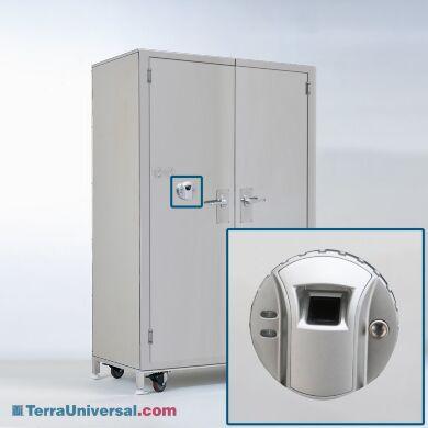 Steel cabinet with fingerprint scanner for secure storage of controlled medications   1989-10 displayed