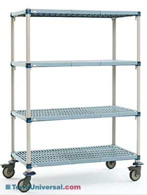Four-tier cart with quick adjust shelves and removable polymer shelf mats, their open grid design allows air and light penetration | 1534-33 displayed