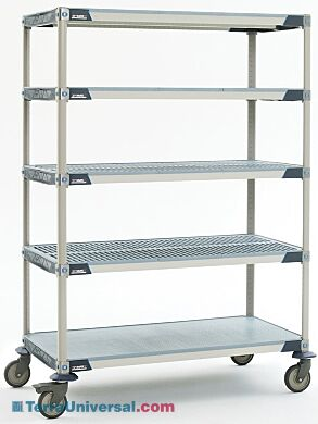Antimicrobial five-tier cart with solid bottom MetroMax i shelf and polyurethane casters, ideal for placement in walk-in coolers | 1534-44 displayed