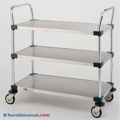 Stainless steel and Chrome Plated Utility Carts by InterMetro includes three solid steel shelves, handles and four casters | 1401-45 displayed